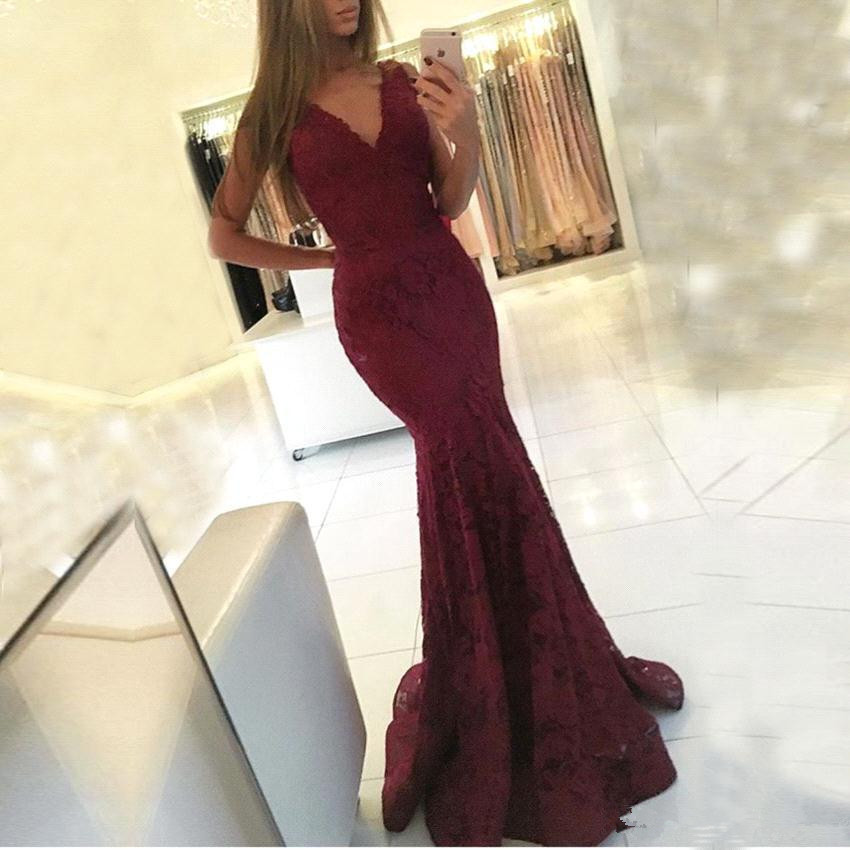 Burgundy 2020   Prom     Dresses   Mermaid Deep V-neck Lace Party Maxys Long   Prom   Gown Evening   Dresses   Robe De Soiree