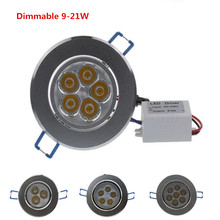 Dimmable led downlight 9W 12W 15W 21W Recessed lighting lamp AC85-240V led cabinet bulb Spotlight LED Ceiling light