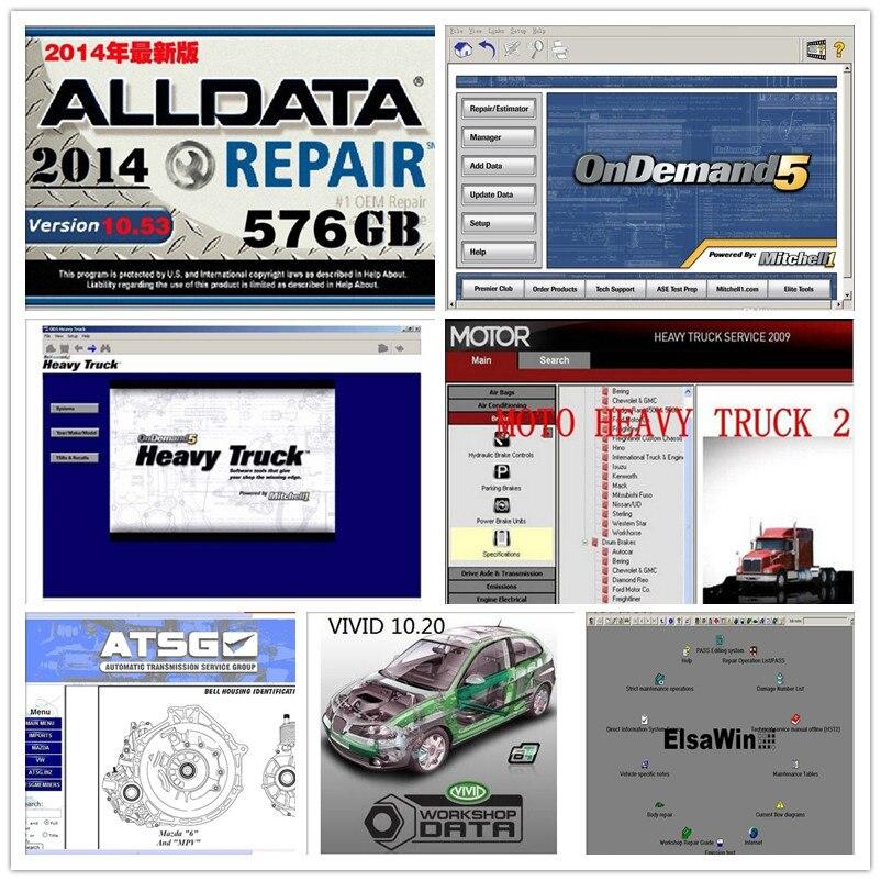 49in1 hdd 1tb alldata V10.53+elsawin+atsg+motor heavy truck+vivid workshop all data and mitchell software data auto repair