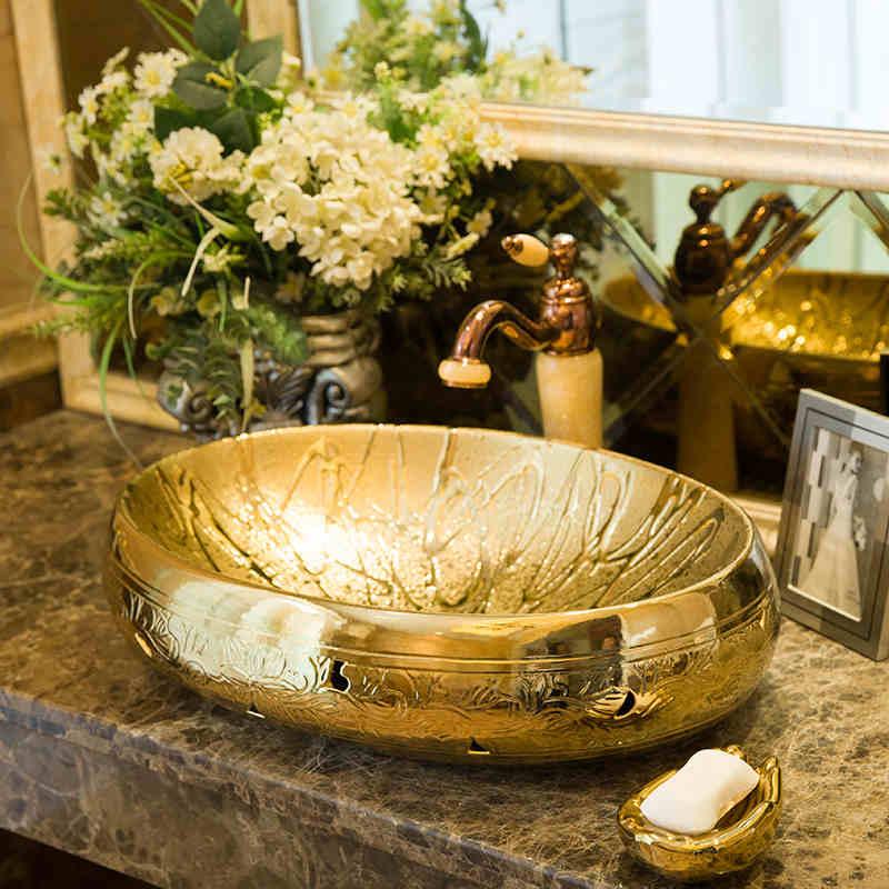 Luxurious Golden Glazed Art Porcelain Counter Top Bathroom Sink Lavabo  Ceramic Washbasin Hand Painted Vessel Sinks Bathroom Sink
