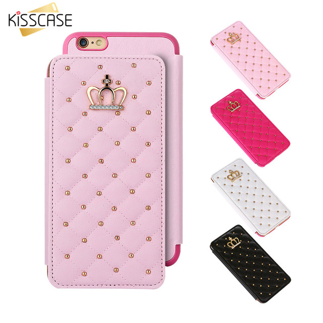 Kisscase Luxury Grid Wallet Case For Iphone 7 Princess Style Book
