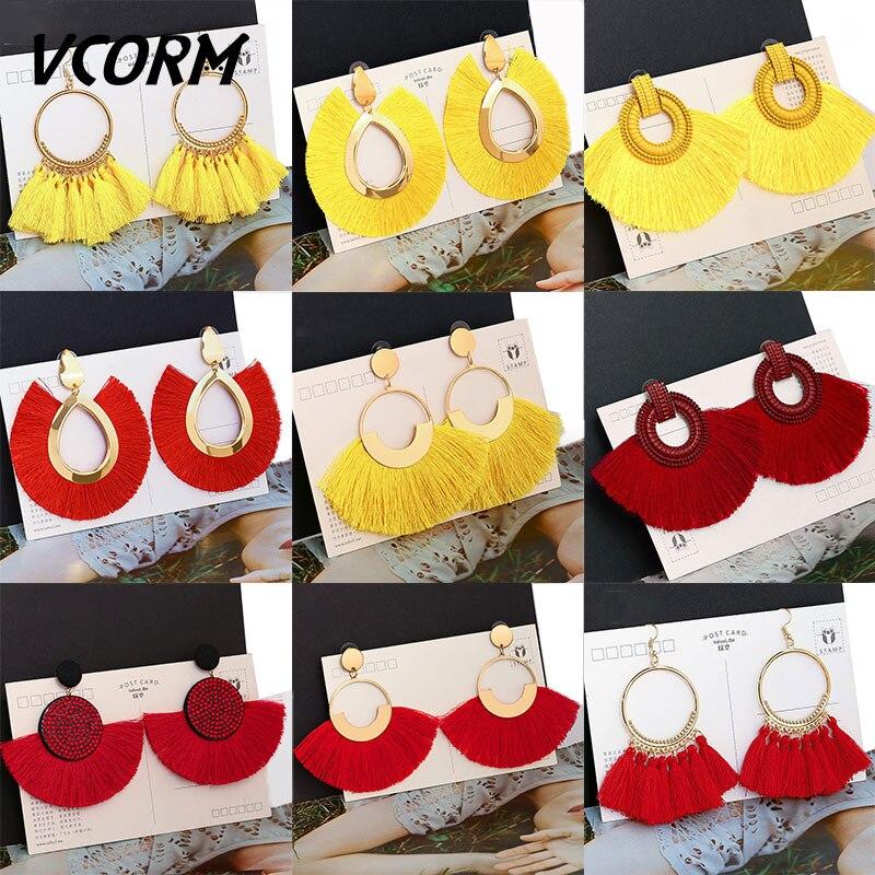 VCORM Bohemian Tassel Big Drop Earrings for Women Fashion Jewelry Earrings 2019 Luxurious Cotton Silk Fabric Fringe Earring…..