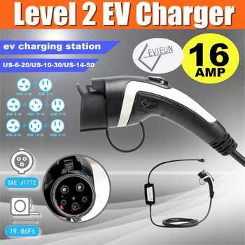 100-240 V niveau 2 EV chargeur EVSE accueil activé véhicule électrique charge Station-16A EV chargeur de voiture 1.7ft + 16.5ft