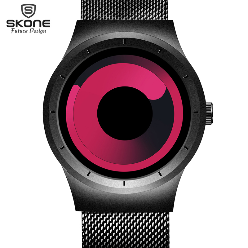 SKONE Mens Watches Top Brand Luxury 2017 Stainless Steel Mesh Strap Quartz Watch Men Fashion Aurora Style Relogio Masculino wishdoit watch men top brand luxury watches simple business style fashion quartz wrist watch mens stainless steel watch relogio