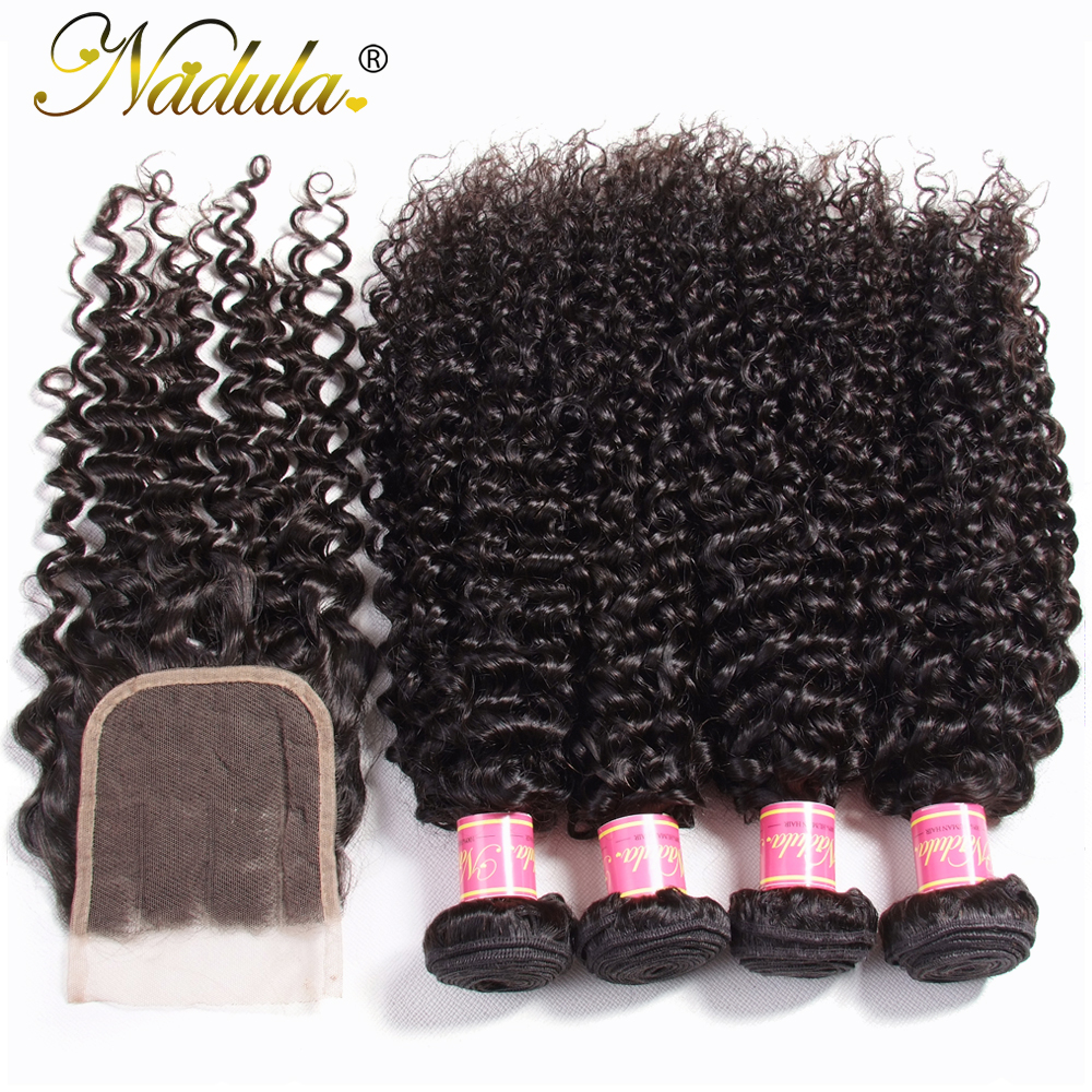 Nadula Hair 4/3 Bundles With Closure  Curly Hair Bundles With 4*4 Lace Closure 100%  Hair s Natural Color 4