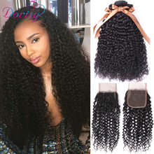 Dorisy Brazilian Hair Weave Bundles 3 stk. Kinky Curly Bundles With Closure Remy Human Hair Extension Curly Bundles With Closure