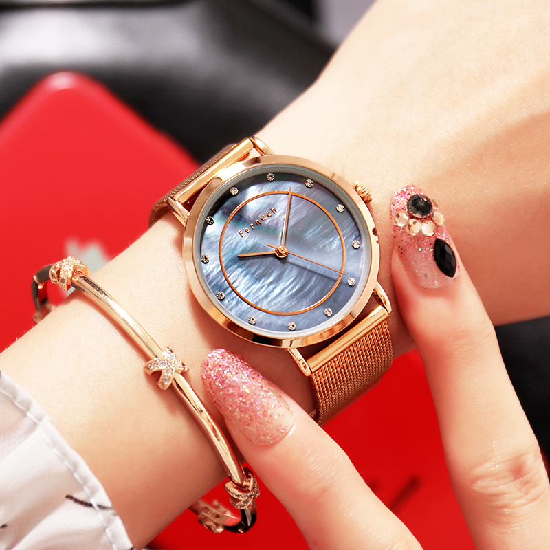 Fashion Shell dial Rose Gold Women Quartz Watch Luxury Brand Women's Watches Stainless steel Waterproof Clock Ladies Dress Watch guou women minimalist sport hot watch thin dial ladies watches rose gold stainless steel wristwatch fashion dress women clock