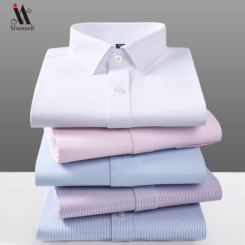 2019 New Men Dress Shirt Long Sleeve Slim Brand Man Shirts Designer High Quality Solid Male Clothing Fit Twill Business Shirts