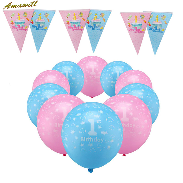 Amawill 1st Birthday Balloons Girl Boy Decoration Banner Pink Blue For Baby Shower Kids Party Supplies 75D