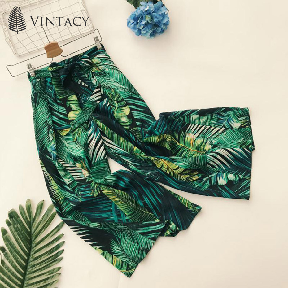 Vintacy Thailand Green Bohemian Beach   Wide     Leg     Pants   Plant Printed Trousers Summer 2019 Hot High Waist Loose Female Casual   Pants