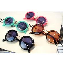 Vintage Cute Kids Sunglasses Child Goggle Round Gafas Baby Children Sport ANTI-UV Sun glasses Girls Boys Oculos De Sol R910-21