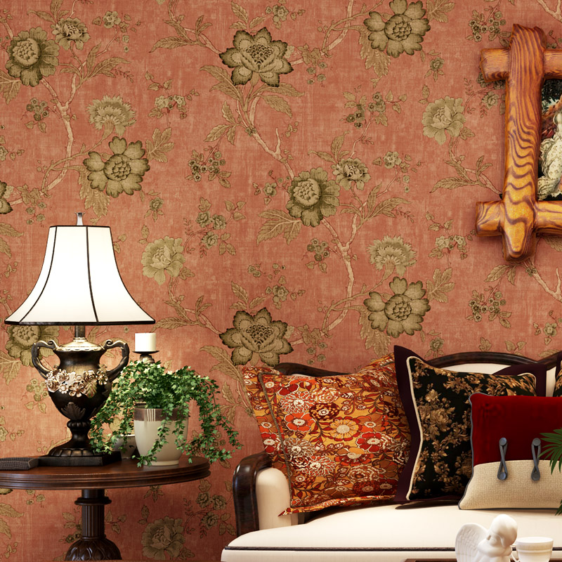 American Style Wallpaper Floral Vintage Rustic Flower Non-woven TV Background Wall Paper for Walls Pastoral Wallpaper Bedroom wall paper papel de parede warm american pastoral bedroom tv backdrop environmental non woven wallpaper wallpaper for walls 3 d