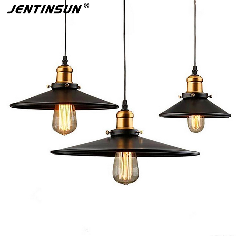 Vintage Black Umbrella Pendant Lights Loft America Style Edison Bulb Metal Light Industrial Retro LED Lighting Hanging Lamp 2 pcs loft retro light rusty color hanging lamp cafe bar pendant lights creative edison lamps industrial style pendant lighting