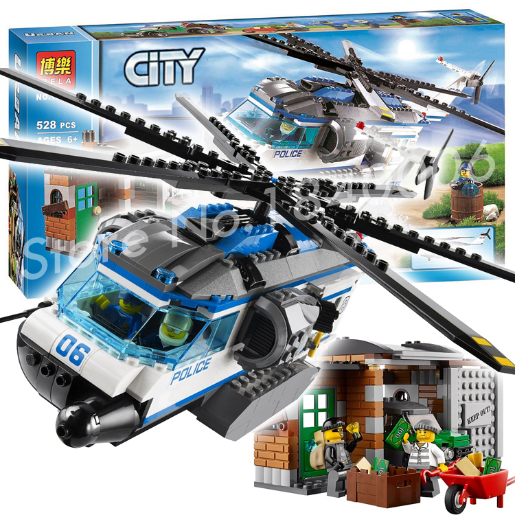 ФОТО 528pcs City Police Crook Helicopter Surveillance 10423 Building Blocks Action Figures Model Toys Bricks Compatible With lego