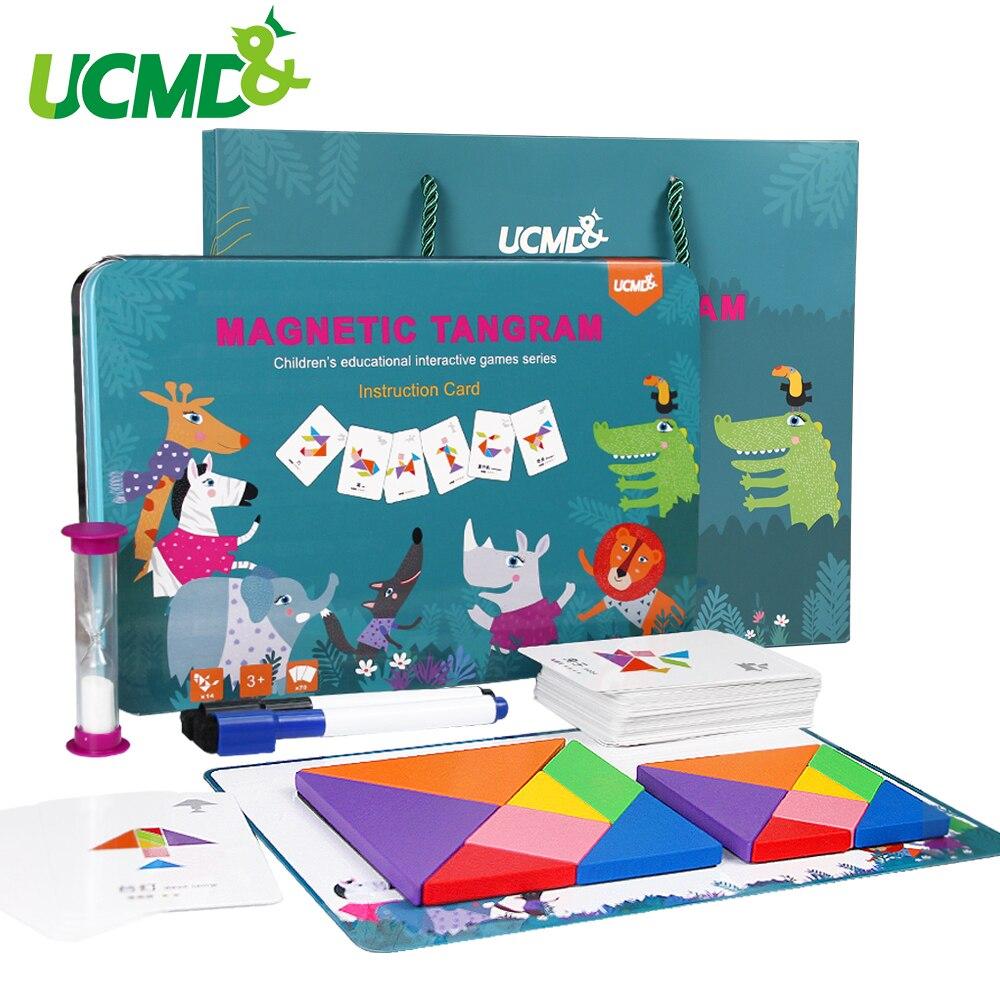 65 pièces cartes + 2 pièces Tangram En Bois Montessori Puzzle Écriture Planche à Dessin Bébé Enfants Apprenant En Développement jouets Éducatifs
