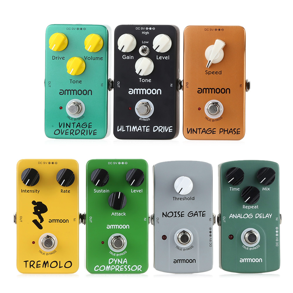 ammoon electric guitar pedal 9 types guitar effect pedal true bypass high quality guitar parts. Black Bedroom Furniture Sets. Home Design Ideas