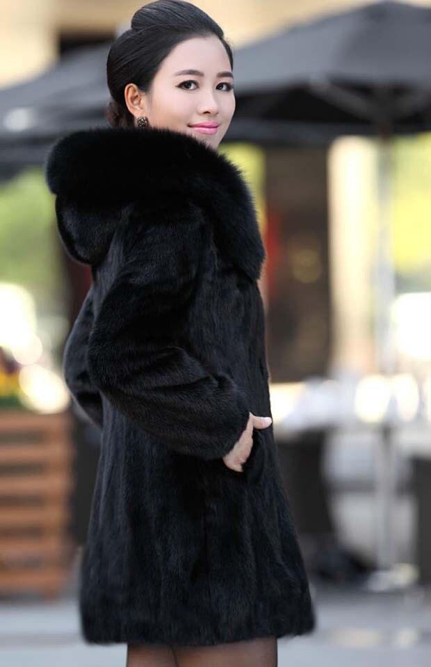 Manteau en fausse fourrure pour femme hiver chaud noir Imitation fourrure de renard Long col rond chapeau tempérament jeune femme 2019 nouveau - 2