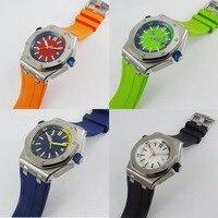 4 цвета Свежий Nologo 43 мм для мужчин часы Авто Дата автоматический MIYOTA наручные часы каучуковый ремешок нержавеющая сталь случае