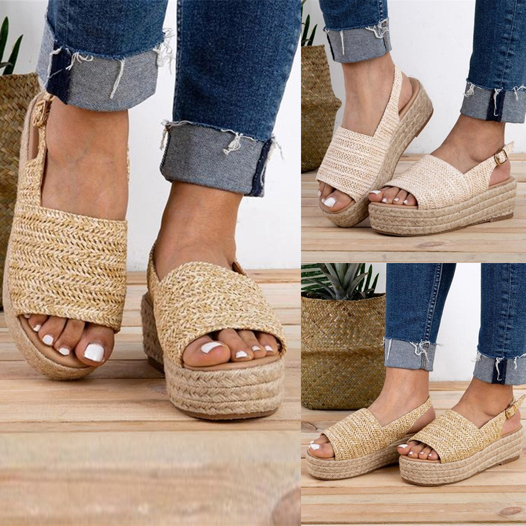 Straw Sandals Braided Roman Shoes Open-Toe Thick Sole Fish-Mouth Womens Bottom Mujer