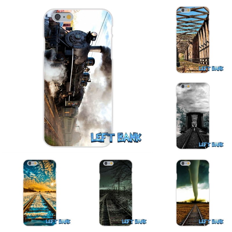 For iPhone 4 4S 5 5S 5C SE 6 6S 7 Plus dark clouds railway Soft Silicone TPU Transparent Cover Case