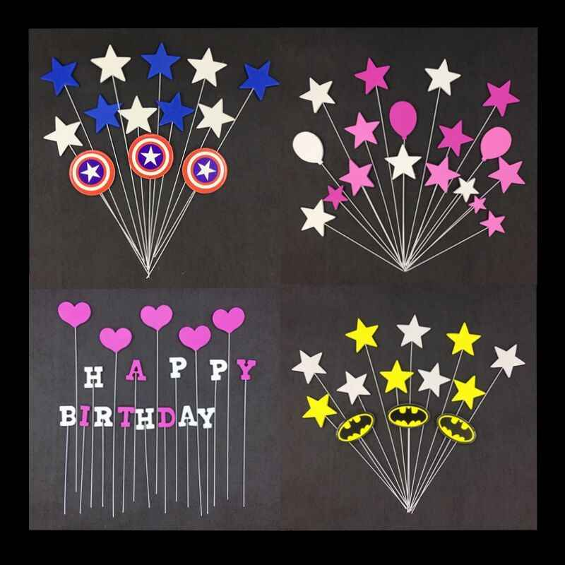 1Set/lot Cartoon Cake Toppers Foam Sponge inserted Iron Wire Flags kids Happy Birthday Cake Decoration Mickey Superhero Batman