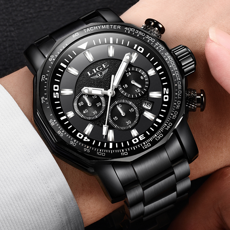 relojes LIGE Watch Men's Fashion Sports Quartz Big Dial Clock Mens Watches Top Brand Luxury Waterproof Watch Relogio Masculino