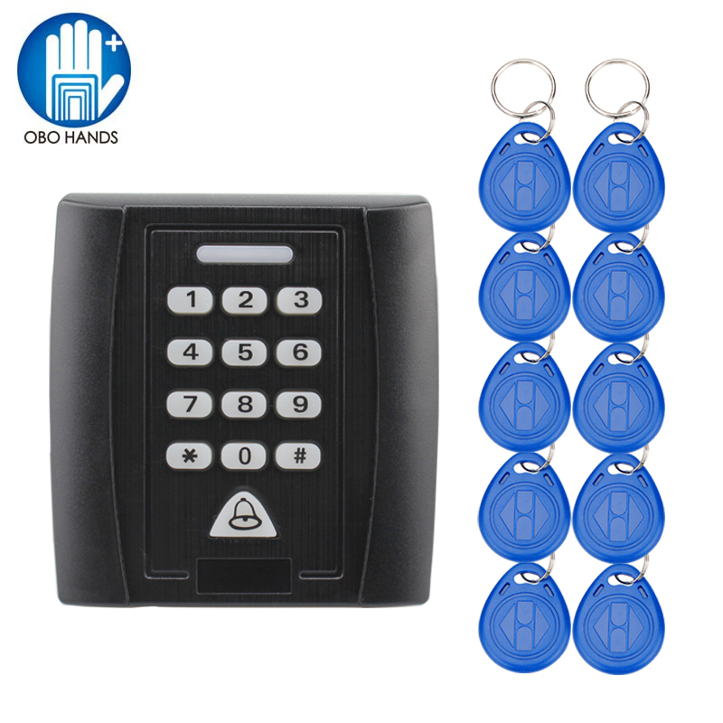 Black RFID 125KHz Access Control Keypad RFID Card Reader with 10pcs TK4100 EM ID Keyfobs RIFD Key Card proximity rfid 125khz em id card access control keypad standalone access controler 2pcs mother card 10pcs id tags min 5pcs