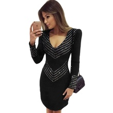 Deep V-neck New Style fashion sexy women Full Rivet Empire Mini Bandage Dress Pub celebrity body con party dresses wholesale