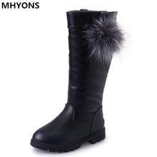 331504c9f48f7 Filles bottes d hiver pour filles bottes de neige princesse PU chaussures  en cuir caoutchouc antidérapant chaud automne chaussur.