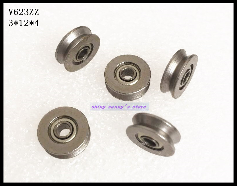 20pcs/Lot V623ZZ 623VV 3x12x4mm V Groove Carbon Steel Deep Groove Ball Bearing Traces Walking Guide Rail Bearing Brand New gcr15 6326 zz or 6326 2rs 130x280x58mm high precision deep groove ball bearings abec 1 p0