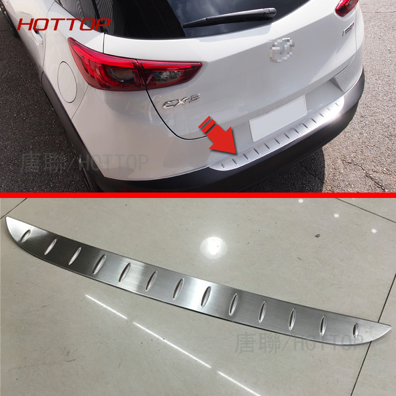 HOTTOP Outside Stainless Steel Rear Bumper For <font><b>Mazda</b></font> <font><b>CX</b></font>-3 <font><b>2016</b></font> 2017 Trunk Sill Scuff Car Accessories image