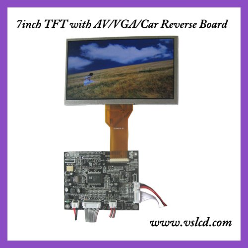 7inch WVGA color tft lcd module with 800x480 resolution AT070TN92 VGA 2AV driver board reversing automatically