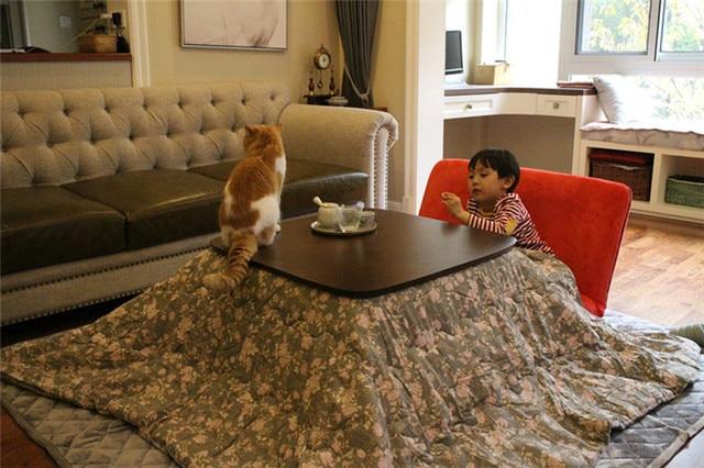 4pcs Heated Warm Kotatsu Set Table Futon Carpet Heater Anese Style Furniture Wooden Tea Coffee