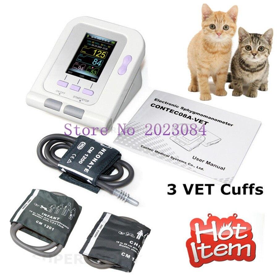 Vétérinaire Vétérinaire OLED numérique de Tension Artérielle et Battement de Coeur Moniteur PNI CONTEC08A-VET + 3 poignets