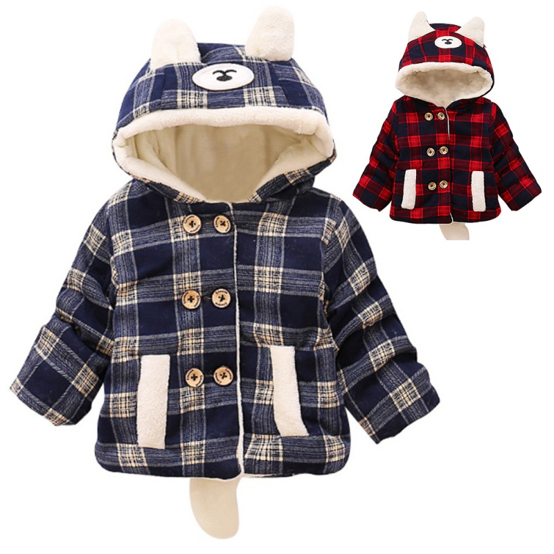 Baby Boys Girls Cotton Fashion Jacket Outwear Children Plaid Cotton-padded Winter Warm Coat children winter coats jacket baby boys warm outerwear thickening outdoors kids snow proof coat parkas cotton padded clothes
