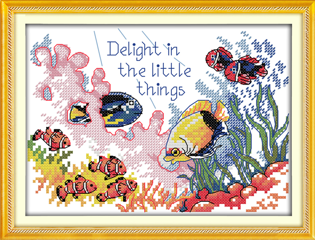 Tropical Fish 4 11CT 14CT Counted Cross Stitch Pattern Kits Embroidery Sets