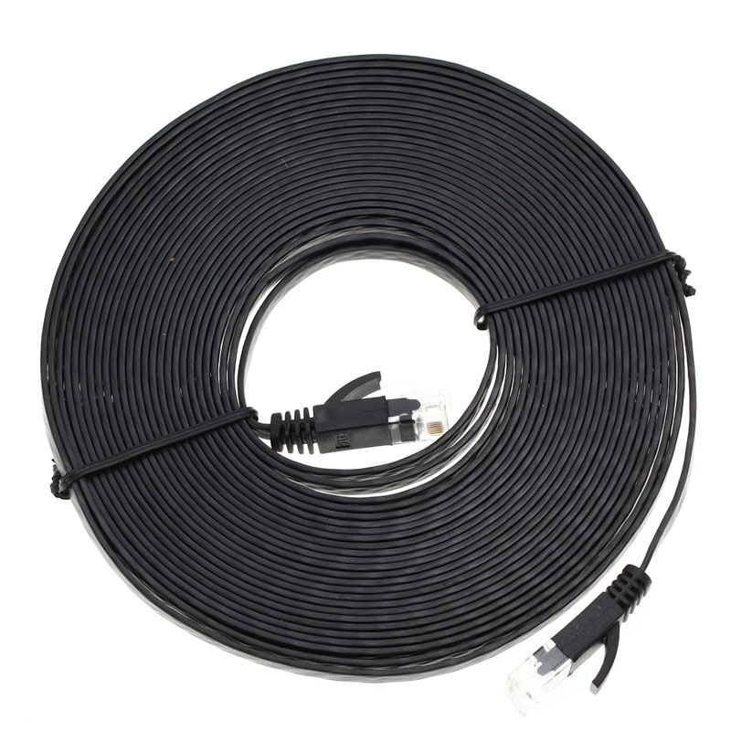 1M/ 3M / 5M / 10M RJ45 Ethernet Cables Flat CAT6 UTP Ethernet Internet Cable Network Cable RJ45 Patch LAN Cable Connector Black