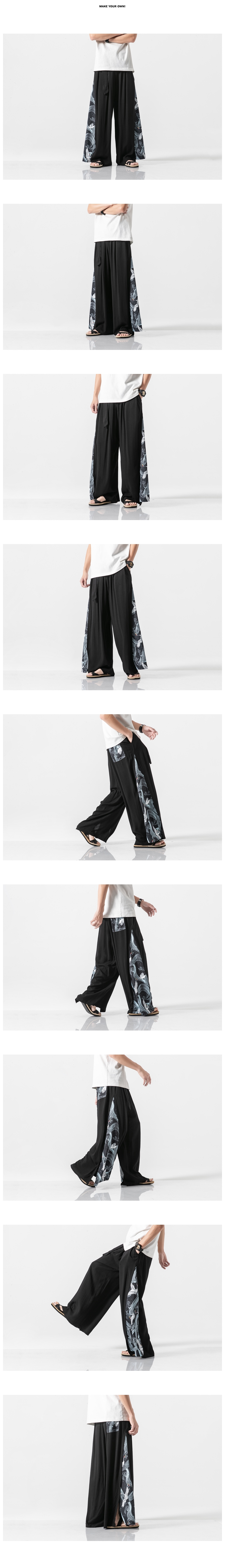 Sinicism Store 2020 Summer Chinese Style Cotton Pants Mens Patchwork Vintage Loose Pants Male Wide Leg Pants 27
