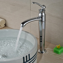 Modern Deck Mount Countertop Basin Vessel Sink Faucet Chrome Brass Bathroom Mixers with Hot Cold Water