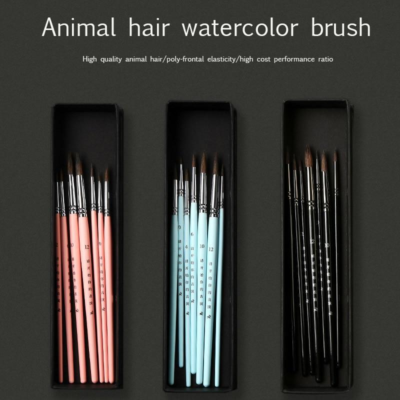3/4/7 Stick Animal Hair Watercolor Pen Set Hand-painted Acrylic Gouache Oil Painting Hook Line Pen Short Rod Art Supplies