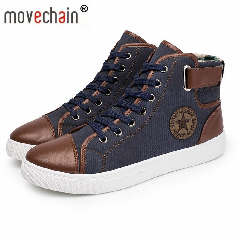 Movechain Men's High-Top Casual Shoes Mens Winter Autumn Spring Dalio Ankle Boots Man Fashion Canvas Flats Plus Sizes 38-46