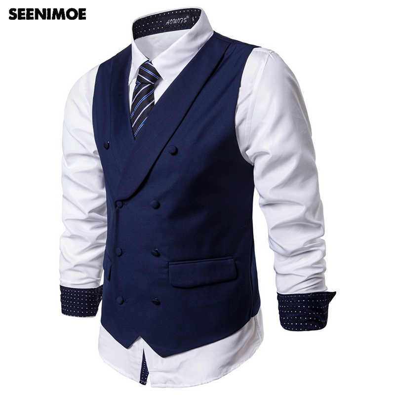 Seenimoe 2019 Mens Vest Suit Formal Blazer Vests Double Breasted Turn collar Solid Party Dress Vest Male S-5XL Mens Waistcoat