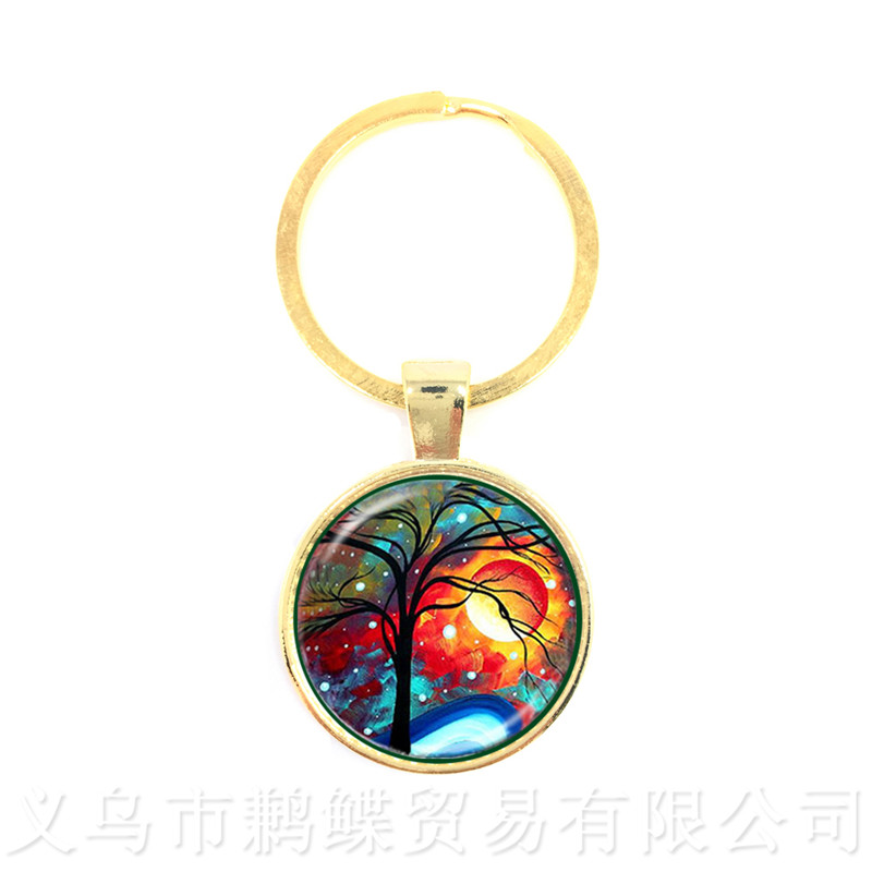 Tree Of Life Pattern Picture Vintage keychains Time Glass Dome Jewellery Pendant Keyring Glass Ornaments Gift For Friends