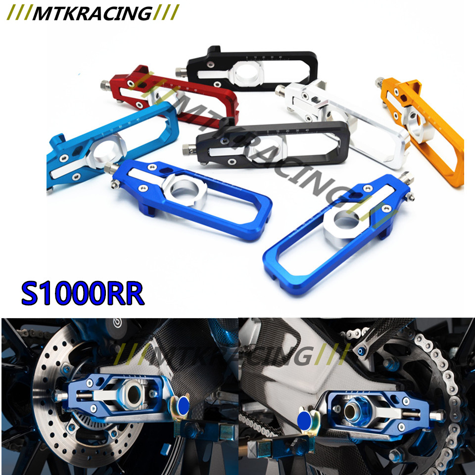 For BMW S1000RR 2009 2010 2011 2012 2013 2014 2015 2016 CNC Aluminum Left & Right Chain Adjusters with Spool Tensioners Catena motorcycle radiator grill grille guard screen cover protector tank water black for bmw f800r 2009 2010 2011 2012 2013 2014