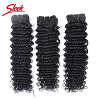 Deep Wave 3 Bundles Deal Natural Color Sleek Hair Extension 10 To 28 Inch Brazilian Hair Weave Bundles Virgin Human Hair