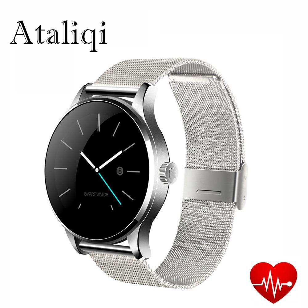 Ataliqi K88H Bluetooth Smart часы Классический здоровья из металла SmartWatch монитор сердечного ритма для Android IOS пульт дистанционного управления телефоном ...