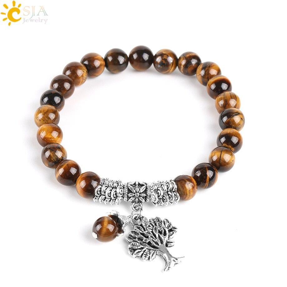 CSJA Natural Tiger Eye Lucky Gem Stone Tree of Life Bracelets 2017 Rosary Reiki Healing Energy Mala Yoga Beads Men Jewelry E725