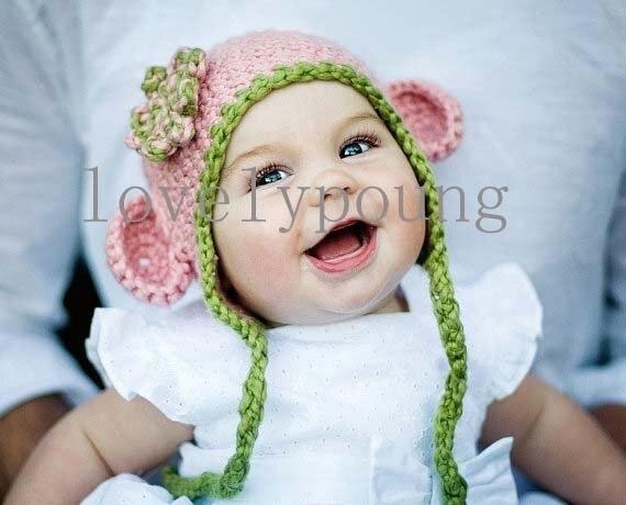 Девочки ухо шляпа, Розовый Обезьяна шляпа сделана из мягкой хлопчатобумажной пряжи, 20 шт./лот