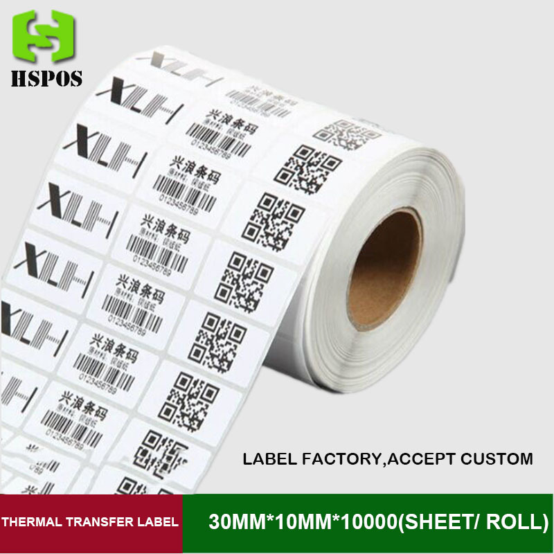30mm*10mm blank transfer label 10000 sheets per roll 3 row thermal adhesive paper can customize use on barcode ribbon printer