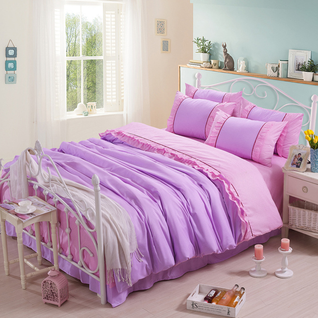 Comforter Bedding Sets Purple And Pink Comforters Quilts Polka Dot S Princess Bed Sheets Set